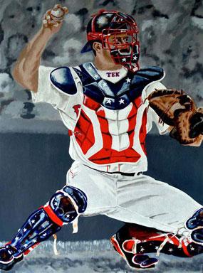 "Jason Varitek of the Boston Red Sox, ""Tek #33"""