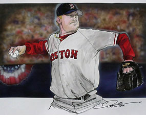 Dave Olsen, Curt Schilling of the Boston Red Sox
