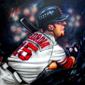 Dave Olsen, Dustin Pedroia of the Boston Red Sox