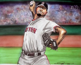 Dave Olsen, Josh Beckett of the Boston Red Sox