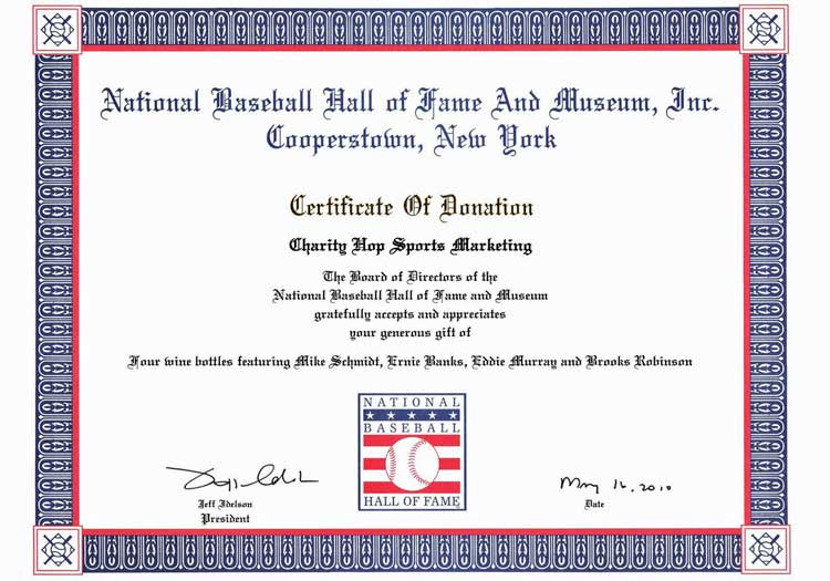 Charity Wines: National Baseball Hall of Fame Certificate of Donation