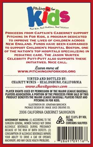 Jason Varitek, Captain's Cabernet wine label back