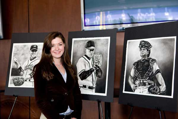 Lauren Creedon with Atlanta Braves Art