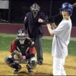 Walter Bentson Umps at Midnight; Carl Rodriguez catches, Anthony Cueroni is at bat