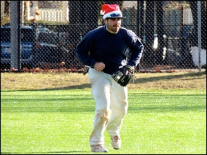 """Mike """"Santa"""" Hicks Scoops Up Grounders At Second."""