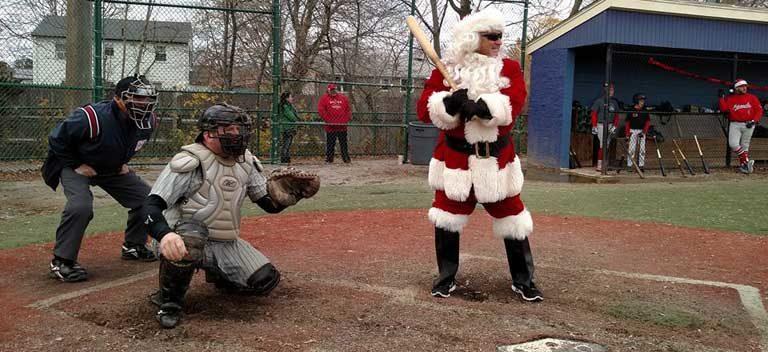 Winterball 2016 - Santa Claus at bat