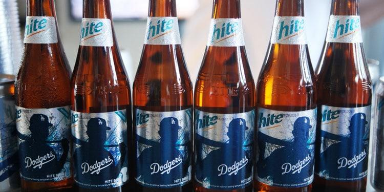 Hite Beer LA Dodgers Bottles Lined Up