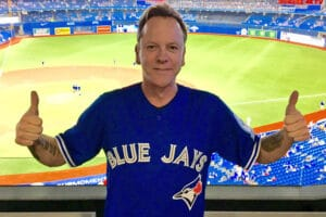 Kiefer Sutherland at a Blue Jays baseball game