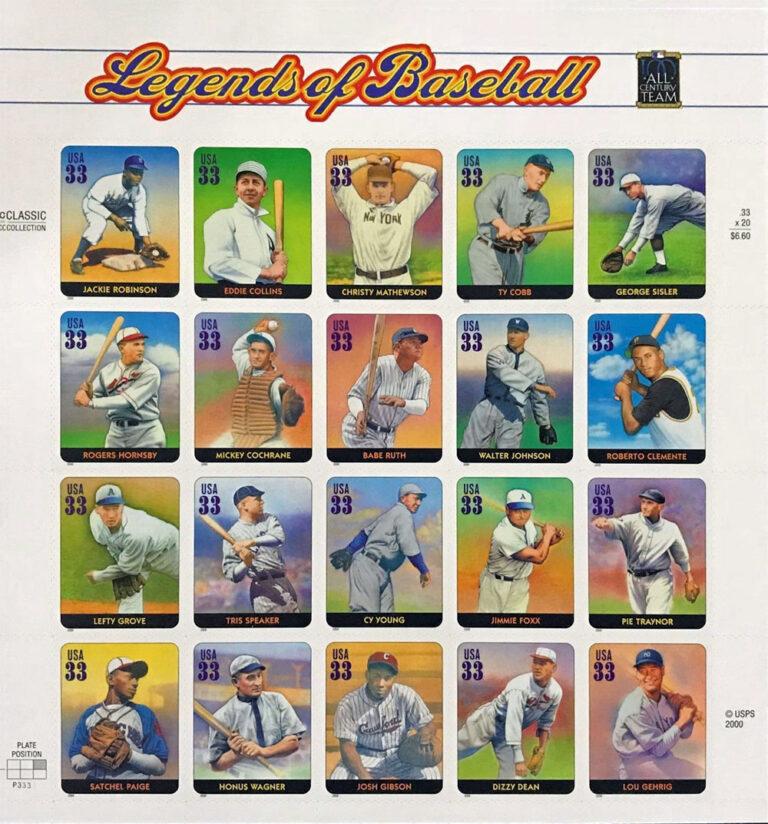 Legends of Baseball U.S. Postage Stamps Sheet
