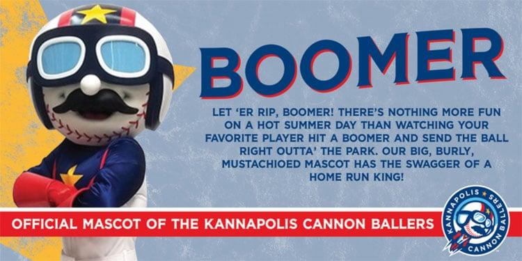 Boomer the Mascot of the Kannapolis Cannon Ballers