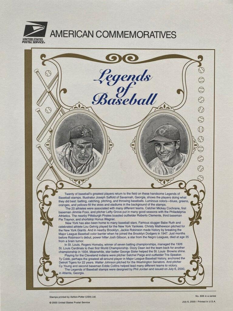 Legends of Baseball American Commemoratives Stamps