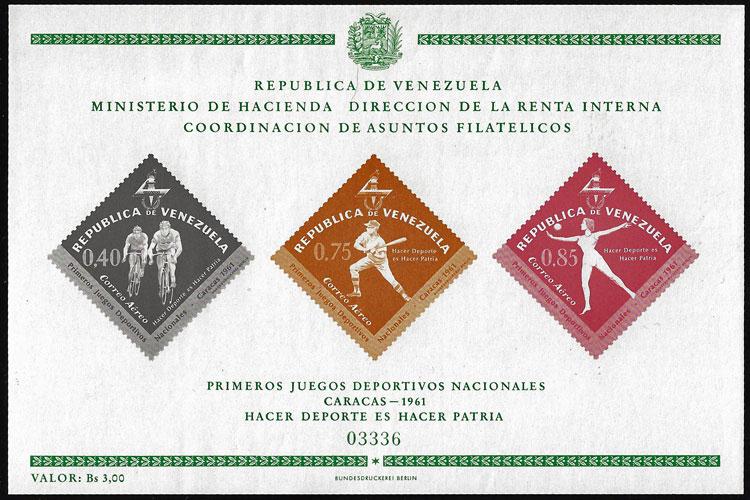 1962 Venezuela – Primeros Juegos Deportivos Nacionales Souvenir Sheet