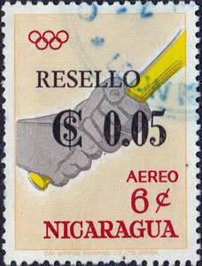 """1968 Nicaragua – Olympic Games in Tokyo, """"RESELLO"""" Overlay"""
