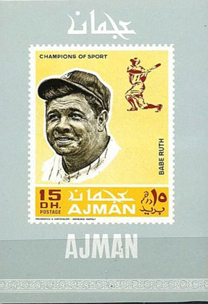 1969 Ajman – Baseball Champions Souvenir Sheet, Babe Ruth