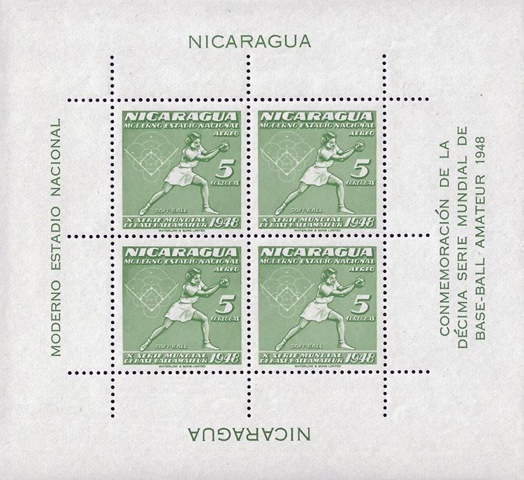 1949 Nicaragua – X Serie Mundial de Base-ball Amateur, Softball Souvenir Sheet – 5 Cardobas