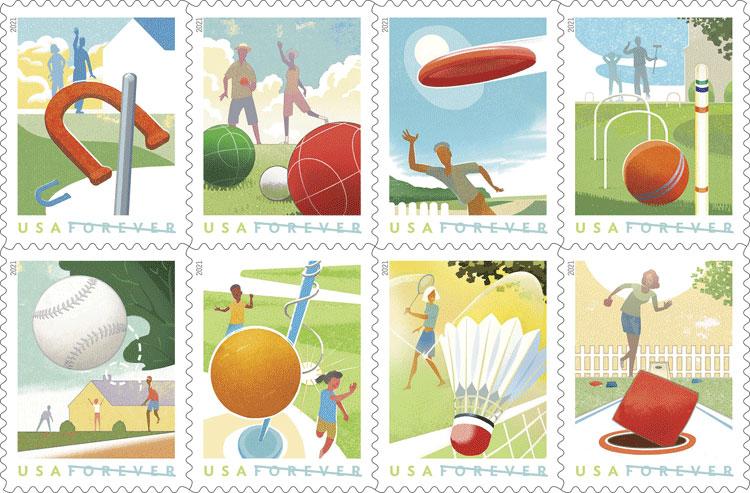 2021 USA – Backyard Games Postage Stamps