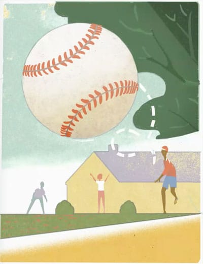2021 USA – Backyard Games Postage Stamp Preliminary Sketch for Baseball with Red Laces