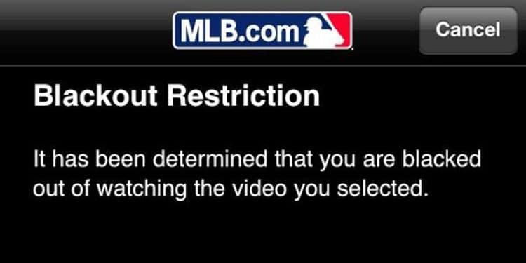 MLB blacked out games