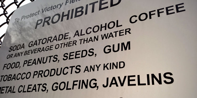 prohibited items at baseball field