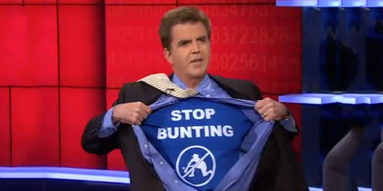 """Brian Kenny with """"Stop Bunting"""" shirt"""